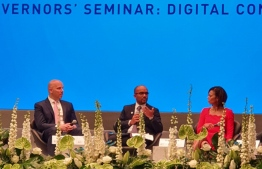 Minister of Finance Ibrahim Ameer speaks at the Governors' Seminar: Digital Connectivity, held at AIIB's 4th Annual General Meeting in Luxembourg, in July 2019. PHOTO/FINANCE MINISTRY