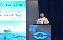 Officer-in-charge of the Maritime Rescue Coordination Centre (MRCC) Captain Ahmed Shiyam speaking at the inauguration of the Boat Operators Training Programme. PHOTO: HUSSAIN WAHEED/ MIHAARU