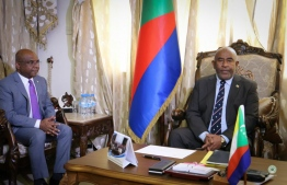 Foreign Minister Abdulla Shahid (L) meets president of Comoros, Azali Assoumani. PHOTO/FOREIGN MINISTRY