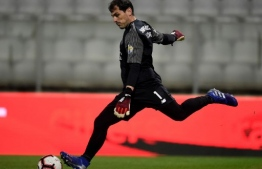 (FILES) In this file photo taken on February 8, 2019 Porto's Spanish goalkeeper Iker Casillas kicks the ball during the Portuguese League football match between Moreirense FC and FC Porto at the Comendador Joaquim de Almeida Freitas stadium in Moreira de Conegos. - Casillas will join the Porto staff while he recovers from the heart attack he suffered two months ago, the Spanish goalkeeper and Portuguese club announced on July 15, 2019. (Photo by MIGUEL RIOPA / AFP)