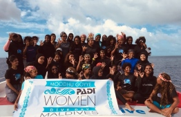 Participants of the PADI Women's Dive Day 2019 event held in Maldives. PHOTO/MOODHU GOYYE