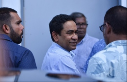Former President Abdulla Yameen Abdul Gayoom on route to attend his Criminal Court hearing. PHOTO: HUSSAIN WAHEED / MIHAARU
