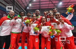 The Table Tennis contingent from Maldives participating at the Indian Ocean Island Games 2019. The female team bagged a historic gold for Maldives as they managed a first time victory in a team event at an international multi-sport competition. PHOTO: NISHAN ALI / MIHAARU