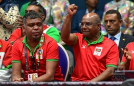 Minister of Foreign Affairs Abdulla Shahid and Secretary-General of the Maldives Olympic Committee (MOC) Ahmed Marzooq at Mauritius celebrating a Maldivian victory. PHOTO: NISHAN ALI/ MIHAARU
