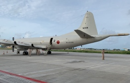 Japanese navy plane at Velana International Airport (VIA). PHOTO: MALDIVIAN NATIONAL DEFENCE FORCE (MNDF)