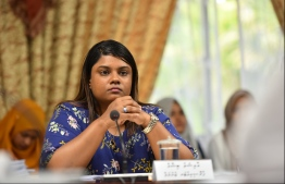 Prosecutor General Aishath Bisham attending a session of the Parliament's Judiciary Committee. PHOTO: HUSSAIN WAHEED/ MIHAARU