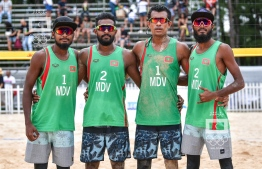 The male beach volleyball team that competed in the Indian Ocean Island Games (IOIG). PHOTO: NISHAN ALI/ MIHAARU