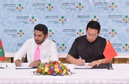 Minister of Health Abdulla Ameen signed an agreement with Chinese Ambassador to Maldives Zhang Lizhong on July 24 for China to assist in expanding ophthalmic services in Maldives. PHOTO: HUSSAIN WAHEED/MIHAARU. HEALTH MINISTRY SIGNING CEREMONY MINISTER ABDULLA AMEEN