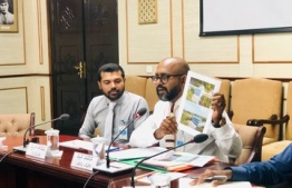 Maldives Integrated Tourism Development Corporation (MITDC)'s Managing Director Mohamed Raaid answering questions at the parliamentary Committee on State Owned Enterprises (SOE). PHOTO: PARLIAMENT
