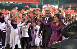 First Lady waving to the school students who performed various acts during the celebrations held to mark the 54th Independence Day, on July 26, 2019. PHOTO: PRESIDENTS OFFICE