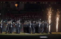 Maldives National Defence Force presents its' silent drill act at the 54th Independence Day celebrations, on July 26, 2019. PHOTO: PRESIDENTS OFFICE