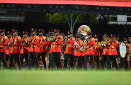 Maldives National Defence Force with its musical performances at the 54th Independence Day celebrations, on July 26, 2019. PHOTO: HUSSAIN WAHEED / MIHAARU