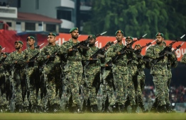 Maldives National Defence Forces march through the national football stadium at 54th Independence Day celebrations, on July 26, 2019. PHOTO: HUSSAIN WAHEED / MIHAARU