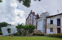 "This handout picture taken and received on July 27, 2019 courtesy of Dominic De Sagon Asa shows the damage to the Sta Maria de Mayan Church after a pair of strong earthquakes of magnitude 5.4 and 5.9 struck the region within hours of each other, in Itbayat on Batanes island. - Eight people were killed and dozens injured when the twin earthquakes struck islands in the northern Philippines early on July 27 while many were still asleep, local officials said. (Photo by Dominic DE SAGON ASA / Courtesy of Dominic DE SAGON ASA / AFP) / -----EDITORS NOTE --- RESTRICTED TO EDITORIAL USE - MANDATORY CREDIT ""AFP PHOTO / Courtesy of Dominic DE SAGON ASA"" - NO MARKETING - NO ADVERTISING CAMPAIGNS - DISTRIBUTED AS A SERVICE TO CLIENTS - NO ARCHIVES"