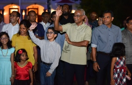 President Ibrahim Mohamed Solih enjoying the activities unfolding in the Float Parade held on July 27 in honour of the festive occasion of Maldives' 54th Independence Day. PHOTO: HUSSAIN WAHEED/MIHAARU.