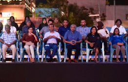President Ibrahim Mohamed Solih and other special guests watching the musical festivities unfold. Fannanunge Muziky Eid music show held on July 28. PHOTO: HUSSAIN WAHEED/MIHAARU.