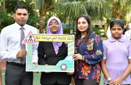 Vice President Faisal Naseem inaugurates road-safety campaign at Hiriya School. PHOTO: PRESIDENT'S OFFICE.