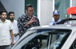Former Vice President Ahmed Adeeb leaves Police Headquarters. PHOTO/MIHAARU