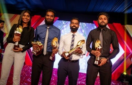 Award winners posing for a photograph following the Mihaaru Awards. PHOTO: MIHAARU