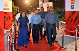 President Ibrahim Mohamed Solih and First Lady Fazna Ahmed arriving at the Mihaaru Awards. PHOTO: MIHAARU