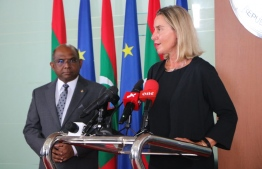 European Union (EU) High Representative for Foreign Affairs and Security Policy Federica Mogherini during a press conference held at the Ministry of Foreign Affairs on Thursday. PHOTO: MINISTRY OF FOREIGN AFFAIRS