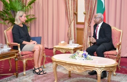 European Union's High Representative for Foreign Affairs and Security Policy Federica Mogherini and President Ibrahim Mohamed Solih. PHOTO: PRESIDENT'S OFFICE