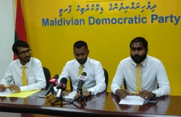 Maldivian Democratic Party (MDP)'s Director of Congress Aik Ahmed Easa (L), MDP Youth Wing President Meekail Ahmed Naseem (C) and Youth Wing Vice President Mohamed Ansar. PHOTO: MDP YOUTH WING
