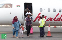 The picture depicts passengers disembarking the first scheduled flight to Kulhudhuffushi, Haa Dhaal Atoll. PHOTO: KULHUDHUFFUSHI ONLINE