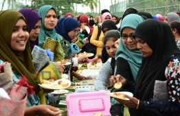 Locals enjoying the breakfast feast hosted by Bank of Maldives (BML) in celebration of Eid-al Alha. PHOTO: BML