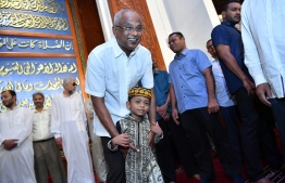 President Ibrahim Mohamed Solih wishing Eid greetings to the public following Eid prayers. PHOTO: PRESIDENT'S OFFICE