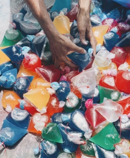 The supreme ruler of 'Fen Kulhi' - plastic packets filled with coloured water, ready to be aimed and thrown at will. This is what an Eid armoury looks like. PHOTO: MIHAARU