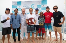 Australian native Josh Kerr wins the 9th Four Seasons Maldives Surfing Champions Trophy, winning two years consecutively. PHOTO: SURFINGCHAMPIONSTROPHY.COM