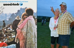 "This combination of pictures created on August 16, 2019 shows live album (L) of ""Woodstock: Music from the Original Soundtrack and More"" features couple Bobbi and Nick Ercoline on the cover and the same Bobbi and Nick Ercoline, posing 50 years later at Bethel Woods Center for the Arts on August 15, 2019 in Bethel, New York. - Nick and Bobbi Ercoline had only been dating three months when they joined flocks of their peers for the 1969 Woodstock blow-out that would become emblematic of their generation. PHOTO: ANGELA WEISS / AFP"