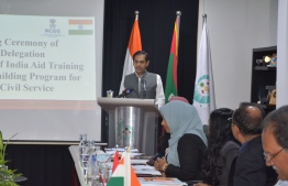 Indian Ambassador to Maldives Sunjay Sudhir, during the welcoming reception of the National Centre for Good Governance (NCGG)'s delegation at the Civil Service Commission. PHOTO: CIVIL SERVICE COMMISSION