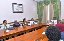 Vice President Faisal Naseem holding a discussion with top government officials. PHOTO: PRESIDENT'S OFFICE