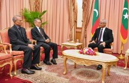 President Ibrahim Mohamed Solih and newly appointed Chancellors of the Islamic University of Maldives (IUM) and Maldives National University (MNU) PHOTO: PRESIDENT'S OFFICE