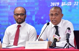 Minister of National Planning and Infrastructure Mohamed Aslam speaking at the Bidder Conference. PHOTO: NISHAN ALI/ MIHAARU
