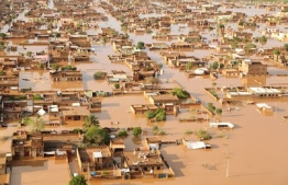 Arial view of a flooded village in Sudan. PHOTO: ATHAVAN NEWS