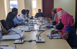 Members of Human Rights Commission of Maldives (HRCM) being questioned by the Parliament's Gender and Human Right's Committee. PHOTO: PARLIAMENT SECRETARIAT