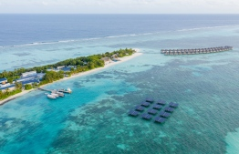 Aerial view of the floating SolarSea system installed at LUX* South Ari Atoll. PHOTO/LUX*