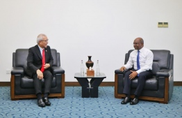 Non-Resident Ambassador of Singapore to Maldives Chua Thian Poh pays a farewell call to Minister of Foreign Affairs Abdulla Shahid. PHOTO: FOREIGN MINISTRY