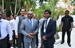 Abdullah Shahid, Minister of foreign affairs, meets Professor Hassan Ugail at the inauguration ceremony of Ukulhas convention centre.  PHOTO:
