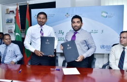 Minister of Youth, Sports and Community Empowerment Ahmed Mahloof and Minister of Health Abdulla Ameen after signing the MoU. PHOTO: MINISTRY OF YOUTH, SPORTS AND COMMUNITY EMPOWERMENT