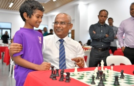 President Ibrahim Mohamed Solih at the opening of Chess Arcade at the Hulhumale Mini Sports Complex. PHOTO: PRESIDENTS OFFICE