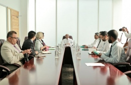 Minister of Foreign Affairs Abdulla Shahid met with the members of the Commonwealth Second Assessment Mission on August 28, 2019. PHOTO/FOREIGN MINISTRY