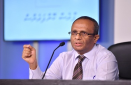 Husnu al-Suood, the president of the Commission on Investigation of Murders and Enforced Disappearances, speaks at press conference regarding their report on the disappearance of journalist Ahmed Rilwan, who has been missing since August 8, 2014. PHOTO: HUSSAIN WAHEED / MIHAARU