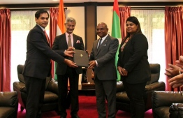 Top officials of Maldives and India at the Treaty on Mutual Legal Assistance in Criminal Matters' exchange ceremony. PHOTO: FOREIGN MINISTRY