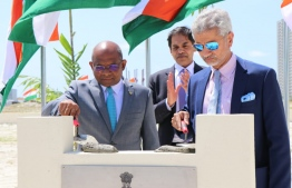 Minister of Foreign Affairs Abdulla Shahid and Indian Minister of External Affairs Dr Subrahmanyam Jaishankar participating in the stone laying ceremony of the Indian Embassy's Chancery Building. PHOTO: MINISTRY OF FOREIGN AFFAIRS