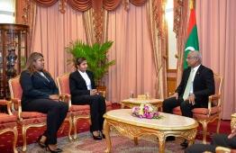 Dr Azmiralda Zahir (C) and Aisha Shujune Mohamed (L) speak with President Ibrahim Mohamed Solih following their appointments to the Supreme Court bench. PHOTO: PRESIDENT'S OFFICE