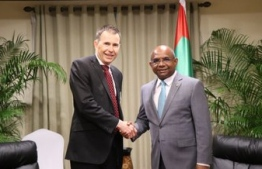 Deputy Secretary at the Department of Foreign Affairs and Trade of Australia Richard Maude pays a courtesy call on the Minister of Foreign Affairs Abdulla Shahid on the sidelines of the Fourth Indian Ocean Conference. PHOTO: FOREIGN MINISTRY